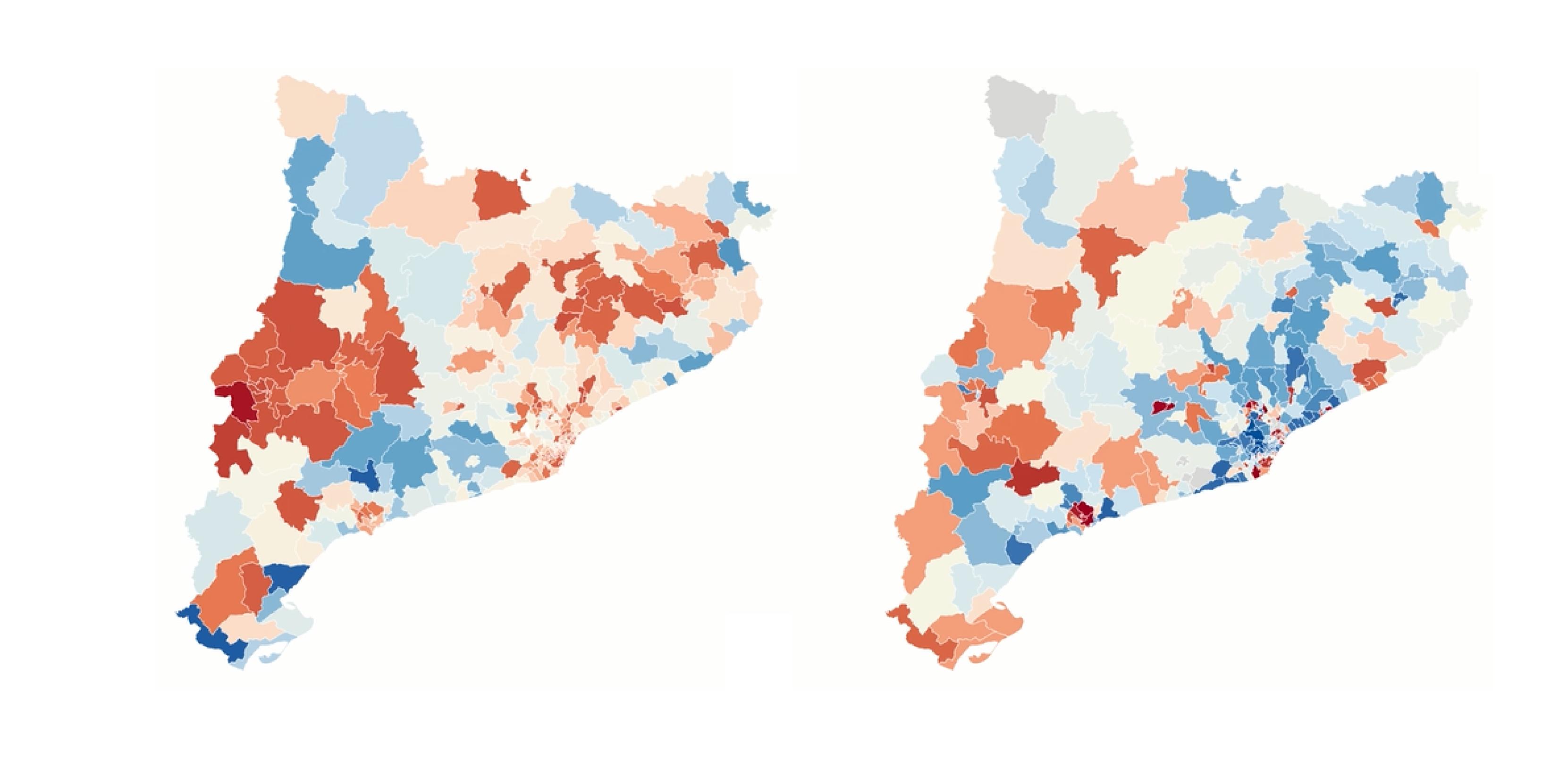 A l'esquerra, casos positius de Covid-19 per cada 100.000 habitants per ABS; a la dreta, índex socioeconòmic compost